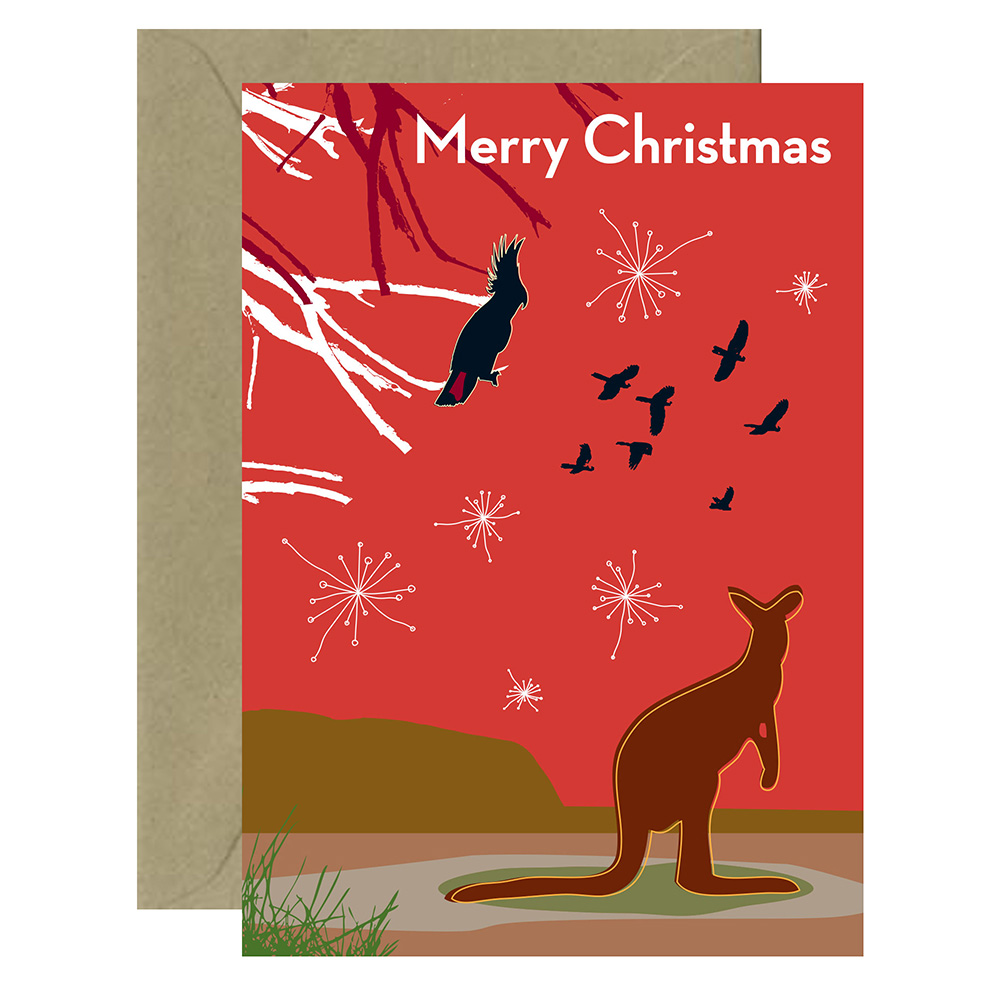 Christmas Outback Roo Card