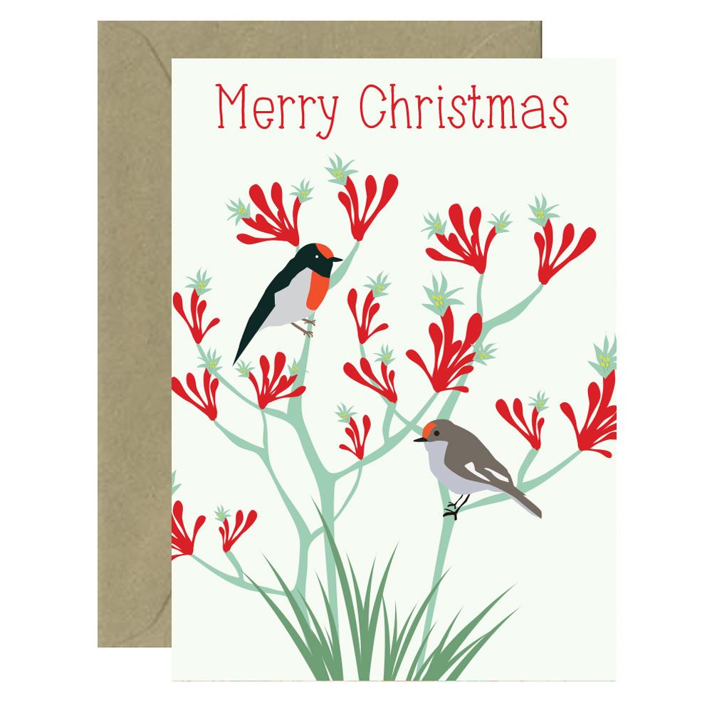 Christmas Bloom Robin Card