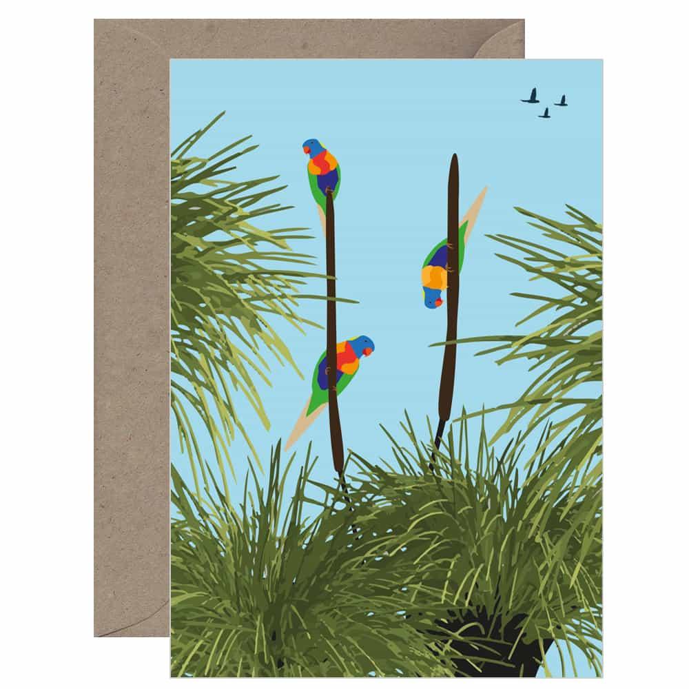 Rainbow Lorikeets Xanthorroea Card