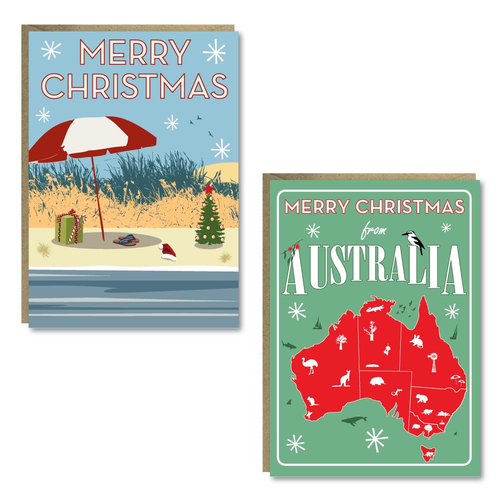 Christmas Beach/Map 8 Card Pack
